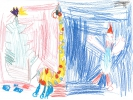 Arthur Cloughley-MacLeod, Santa and the Christmas Giraffe with slippers on, age 5
