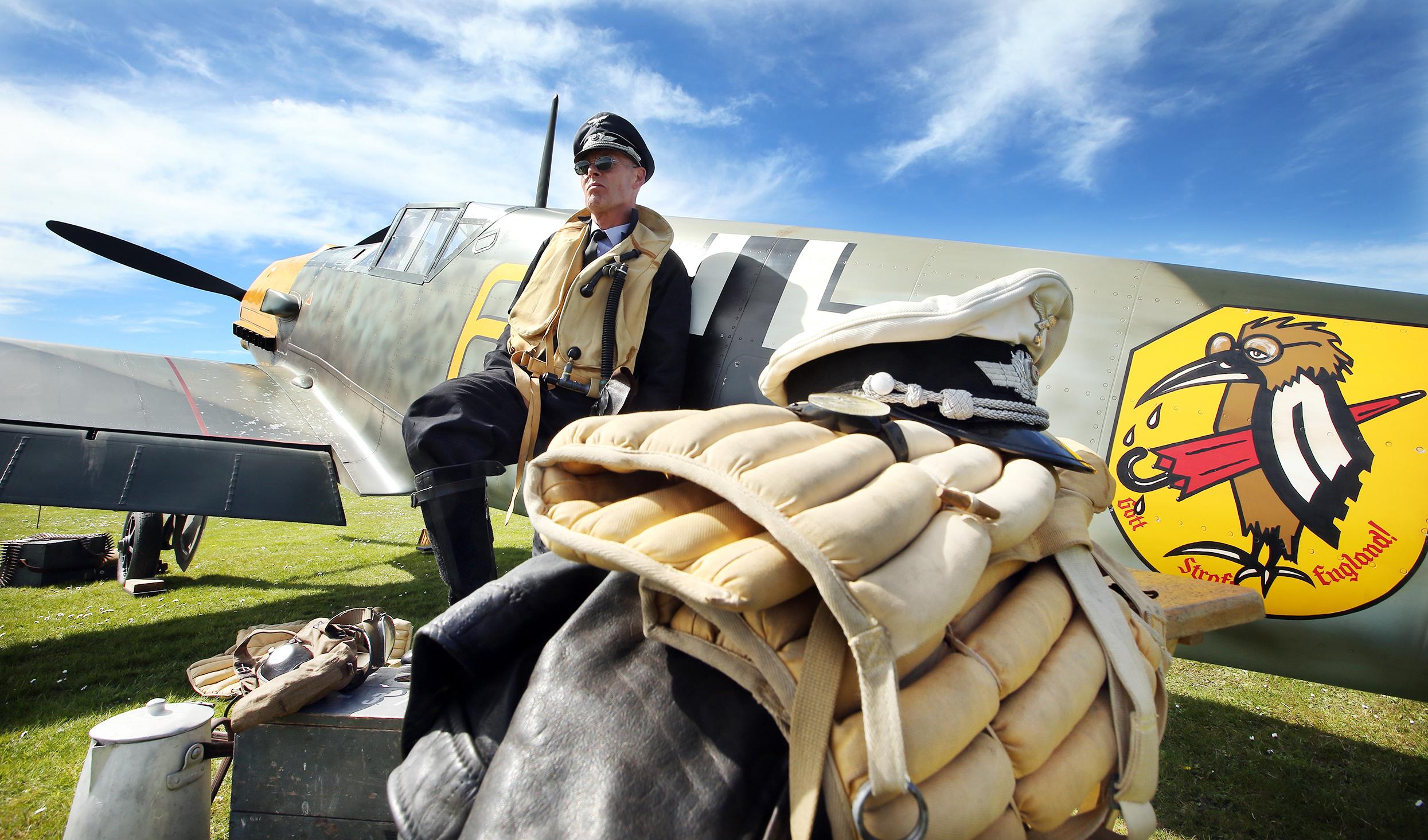 A moment of reflection for German Messerschmitt pilot Steve Heappey.