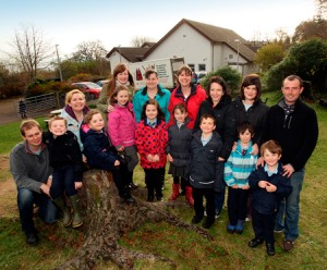 Some of the former Bun Sgoil Shlèite pupils who have children attending the school. Stuart Shone with Alastair; Kirsteen McGonagall and Morag; Kathryn MacKay and Cara-Marie; Lorraine MacKinnon and Emma Ceit; Rhona Mahon and Eva; Norma MacPherson and Dylan; Emma Micski and Lachlan; and Kenneth MacAskill with Cailean.