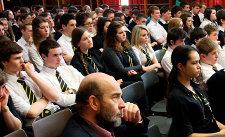 Students and teachers listen intently during the independence debate