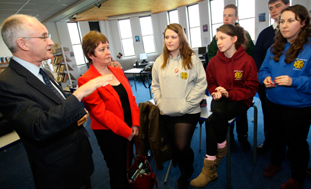 Senior students talk with MSPs Dave Thompson and Rhoda Grant