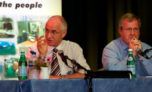 Dave Thompson makes a point during last Thursday's debate in Dornie Hall