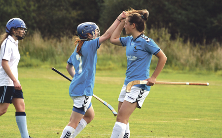 Isabelle Law and Sarah Corrigall celebrate Skye's second goal