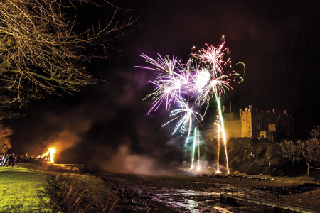 Dunvegan and Plockton lit up by fireworks