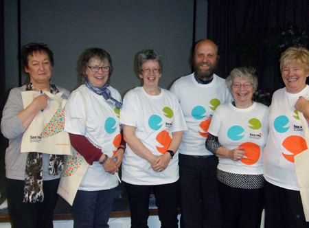 Pictured, left to right, are volunteers Mary Robb and Marilyn Clarke, project lead Gill Terry, CAB session supervisor Ed Pybus, and volunteers Jess Donaldson and Sandra Dew