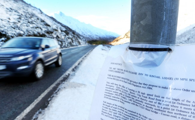 Delight as proposed speed limit reduction on the A87 is dropped