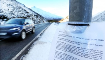 Notices regarding the proposed speed restriction have been posted on stretches of the A87 with no lay-bys