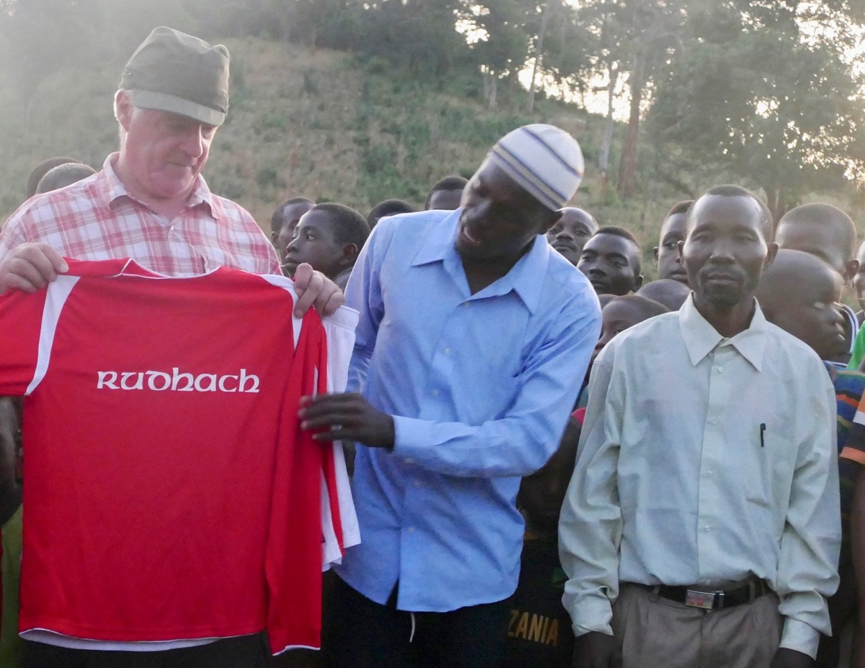 Alasdair giving out Point FC's old 'Rudhach' shirts