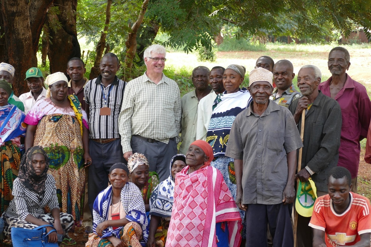 Alasdair with a group of villagers in Mahenge
