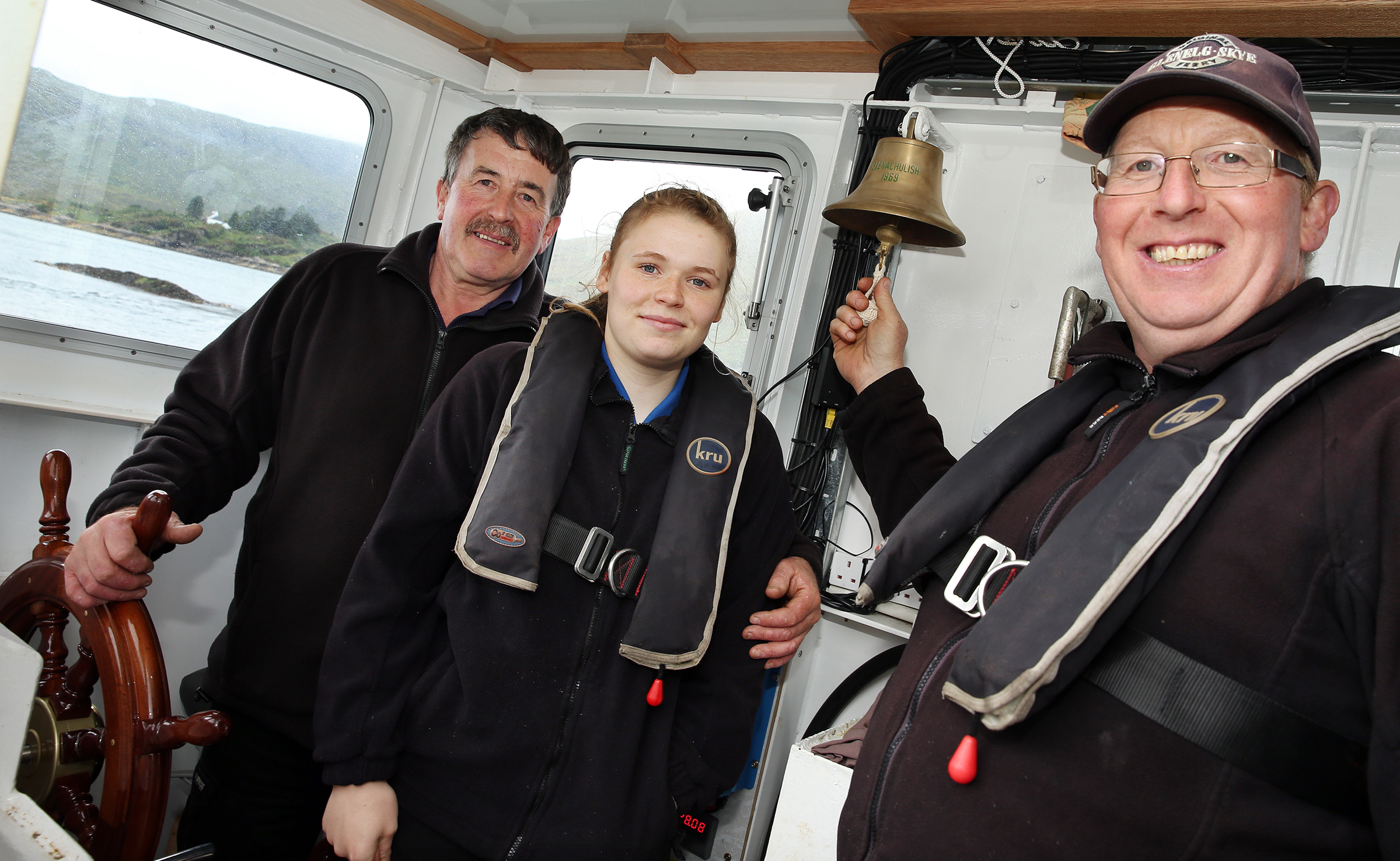 Skipper Donald MacDonald with crew members Anna and Colin MacDonald
