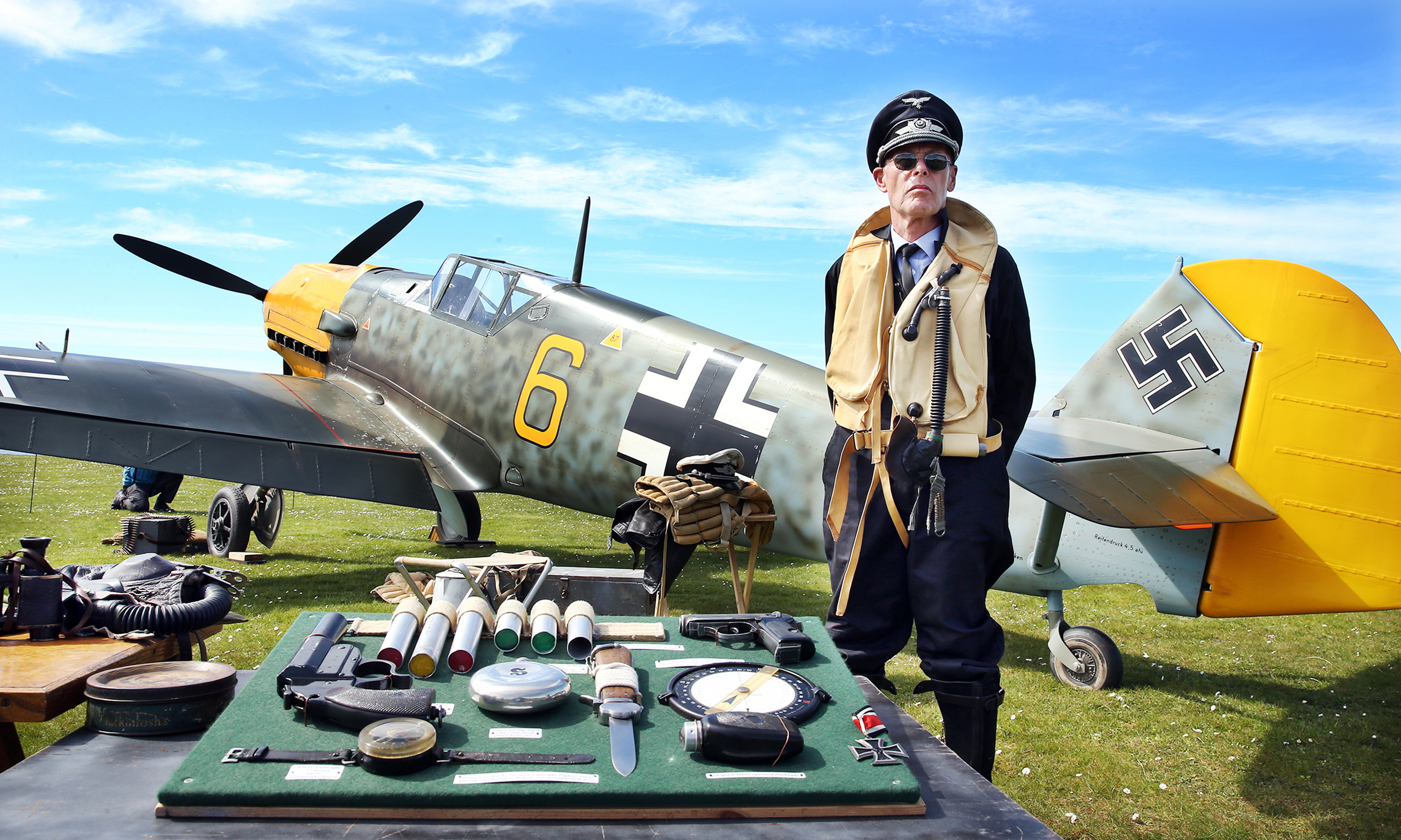A full-size replica German Messerschmitt fighter plane and pilot Steve Heappey, were a popular attraction at Battle of Britain camp at Aultbea.