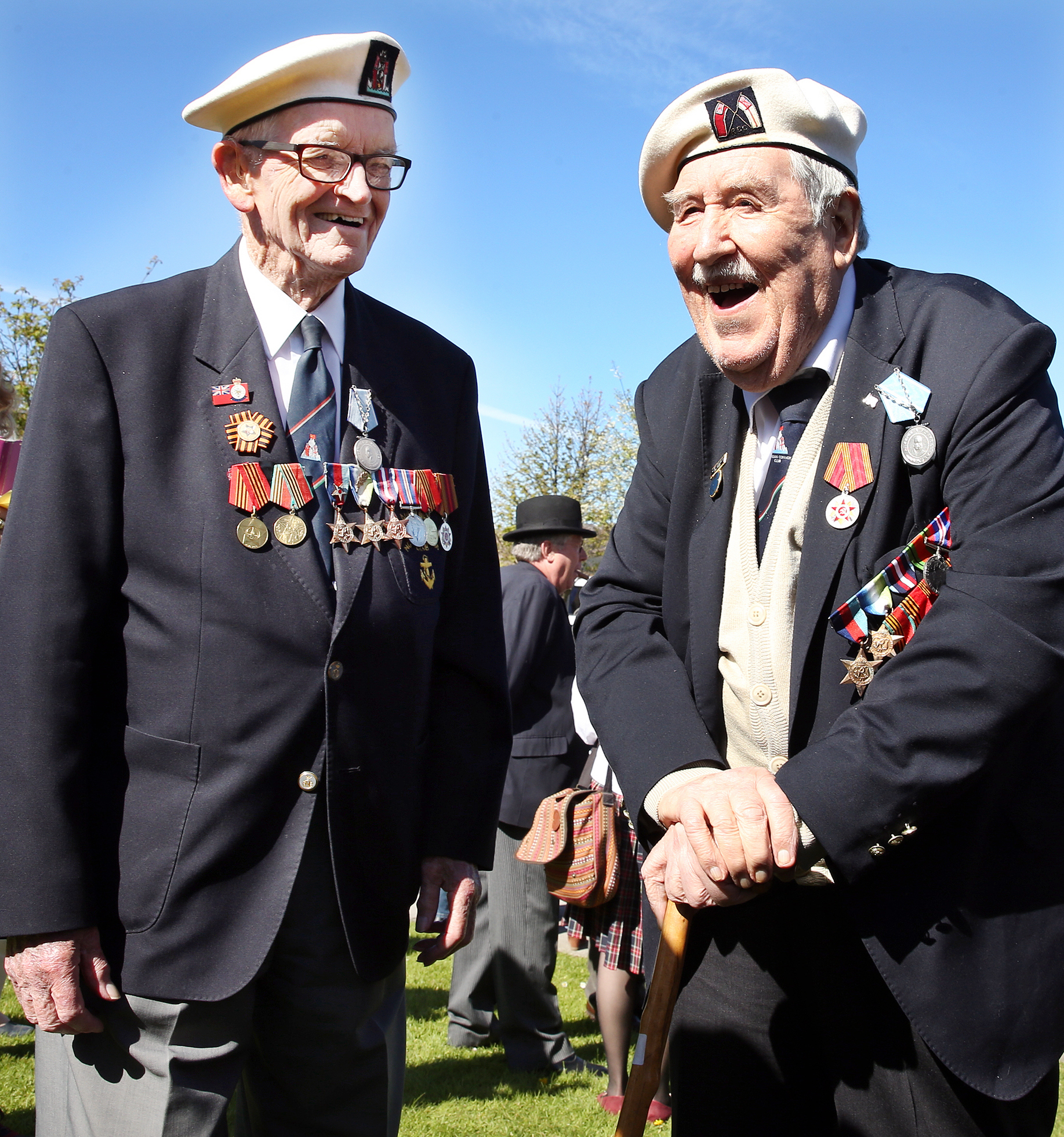 Arctic Convoy veterans, David Craig and Geoff Shelton enjoy a chat during the proceedings at Poolewe on Saturday.