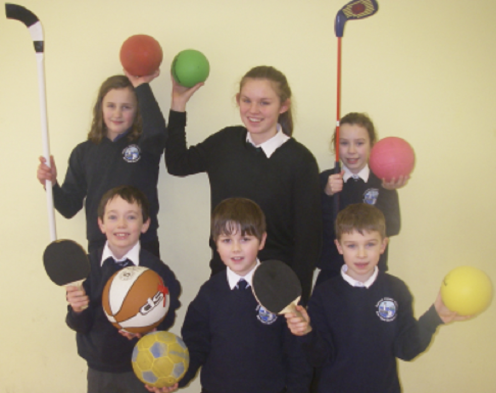Sara pictured with pupils at Gairloch Primary School