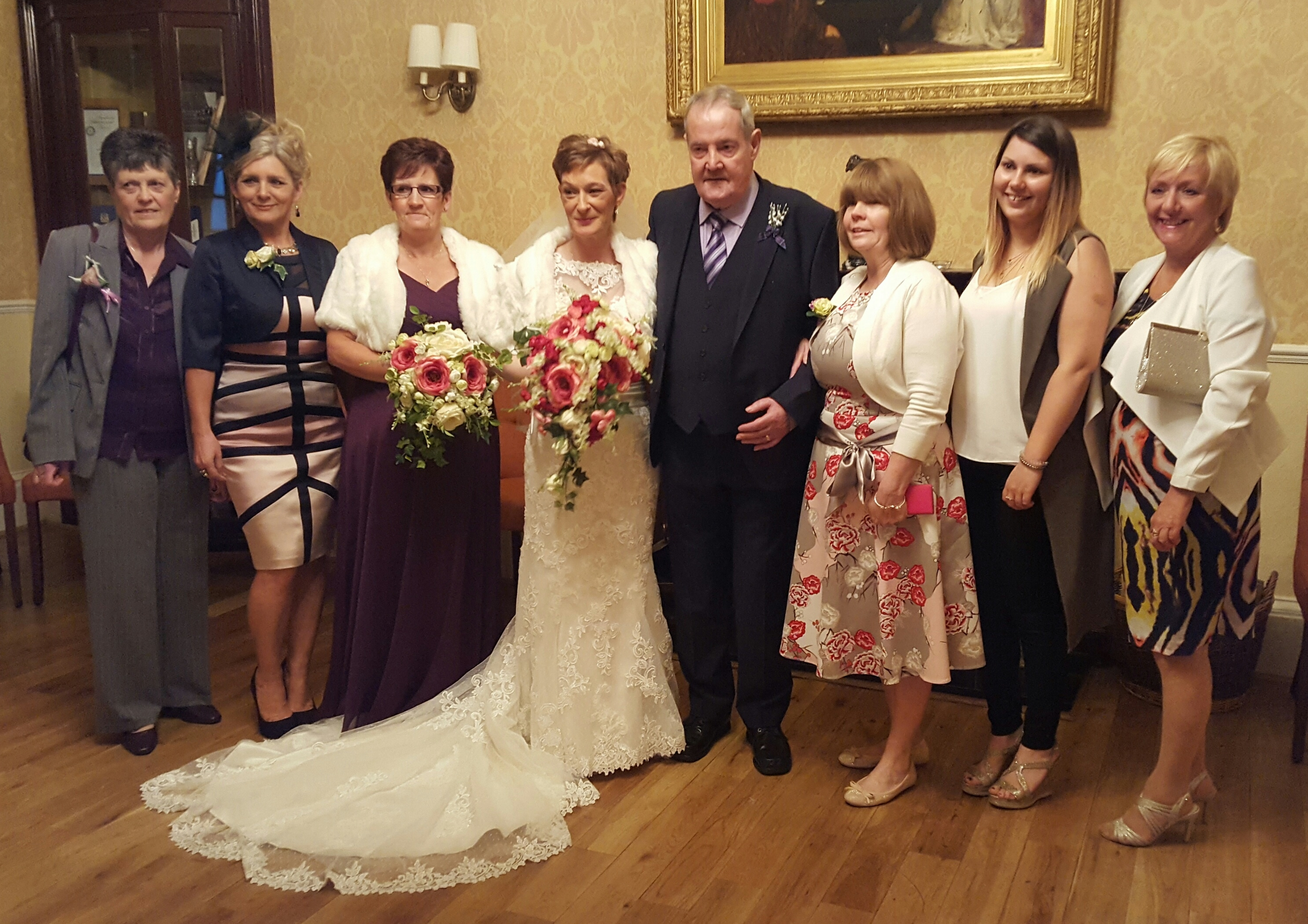 Pictured (left to right) Pat Maclean and Linda Toland of Kyle Court, maid of honour Diane Paton, Iain and Shona MacFarlane; Pauline Fairbairn of Kyle Court and Keana Mackenzie and Pauline Macdonald from the haematology department