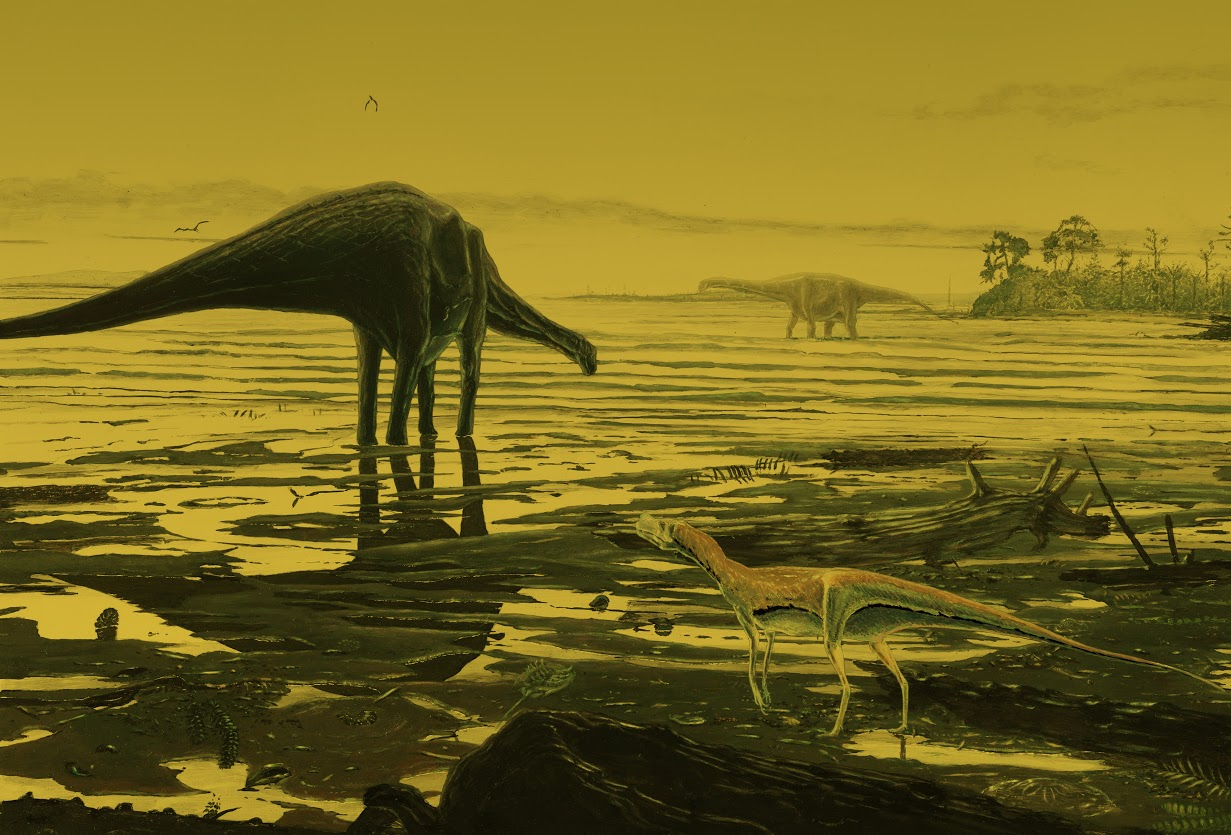 An artists impression of Sauropod dinosaurs on Skye. Credit: Jon Hoad