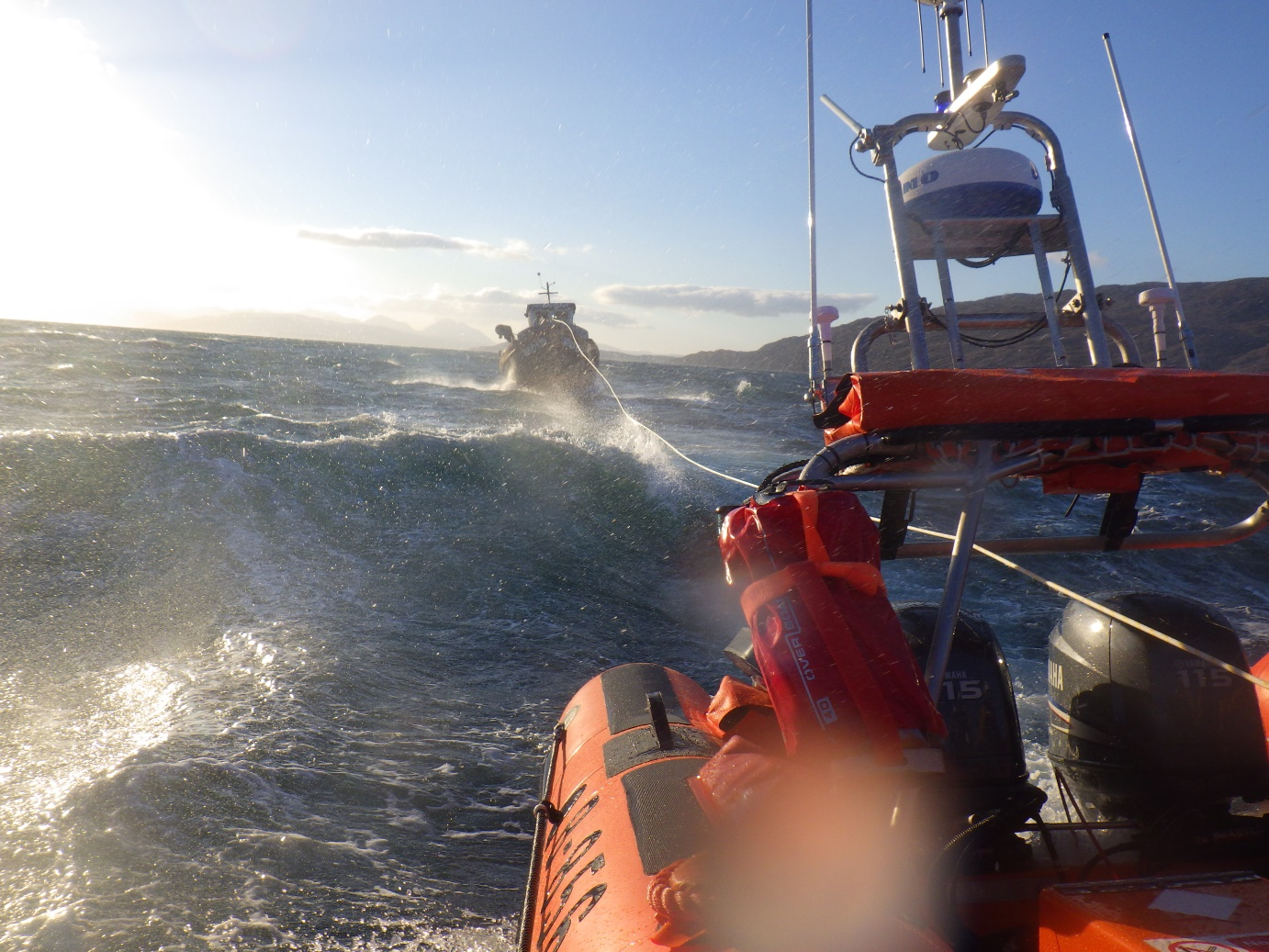 Kyle lifeboat towing the Ptarmigan SMALL
