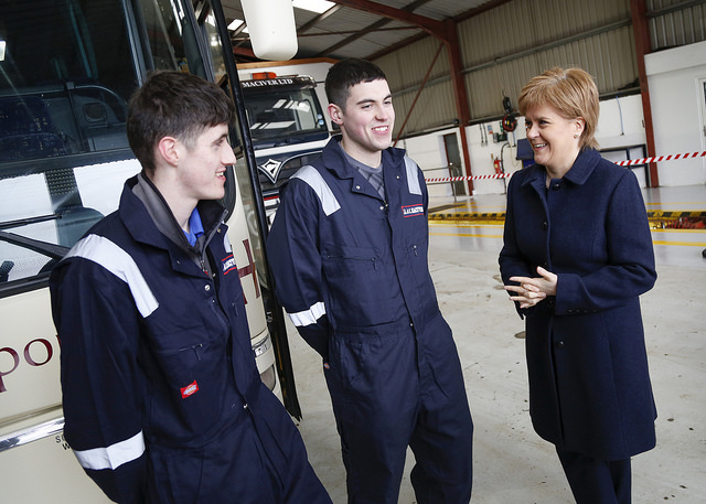 Nicola Sturgeon with I.A&C MacIver Ltd apprentices Daniel Duffy and Daniel McGrath